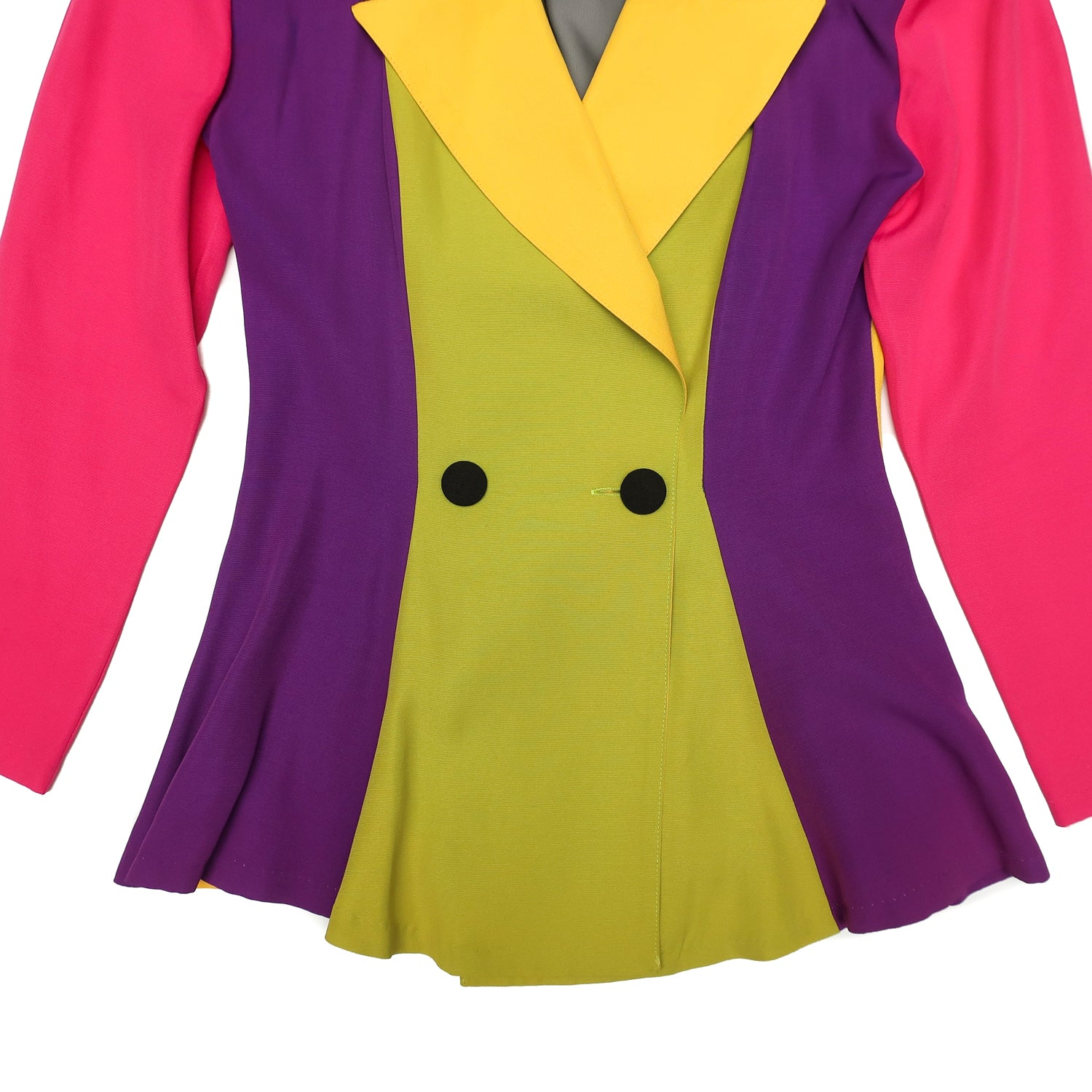 Second Room Vintage Clothing. Vintage 90s color block blazer in neon pink, purple, yellow, green and black, with black mesh panel in the back with colorful criss cross fabric strips. This blazer is double breasted, and is quite fitted at the waist, and then flares out with a peplum style. Free North American shipping on all orders.