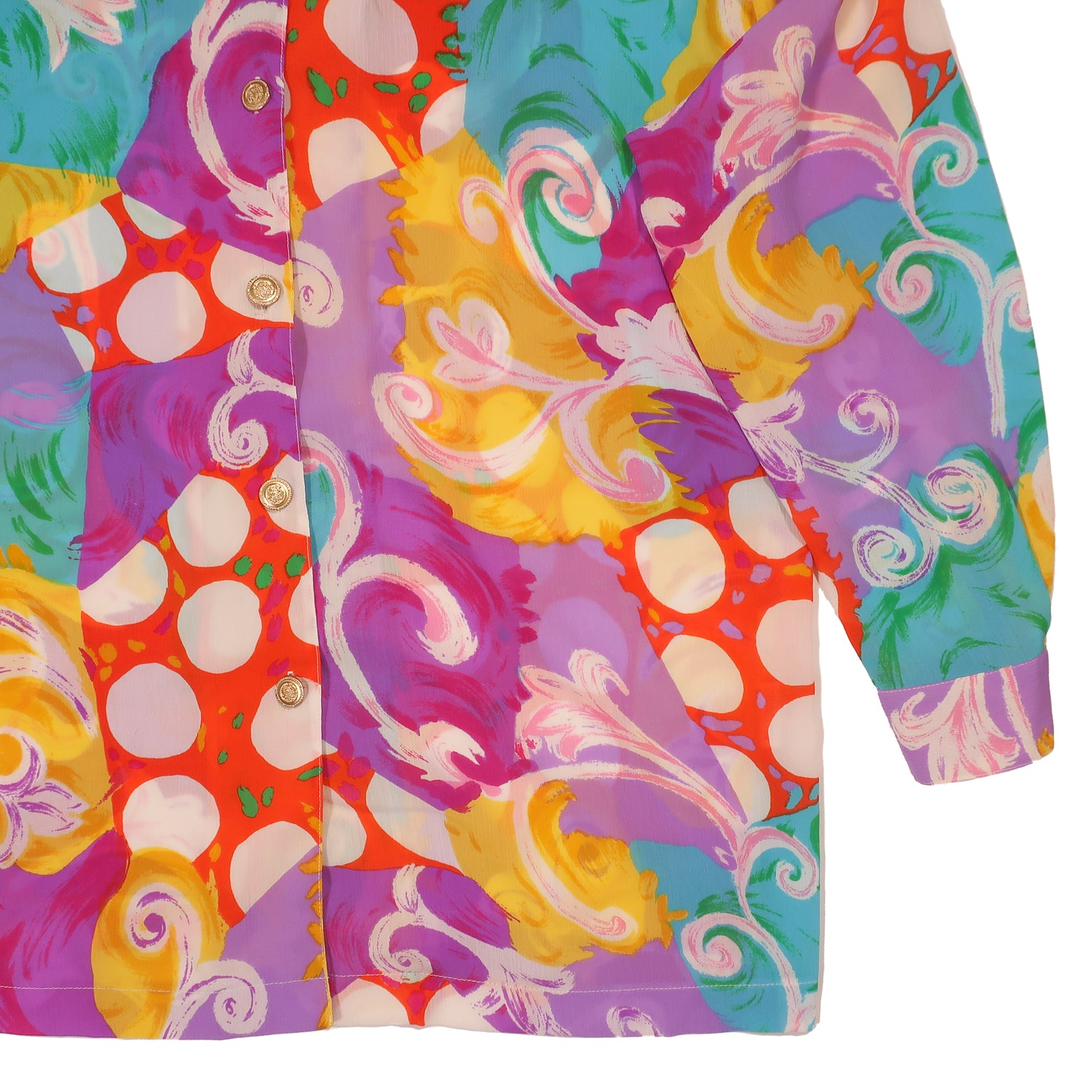 Second Room Vintage Clothing. Vintage patterned, bright orange, green, yellow, purple and white long sleeve button up, with unique notched collar design. Free Shipping on all orders within North America.