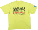 Second Room Vintage Clothing. Vintage bright neon yellow, crew neck, single stitch tshirt from Cousin Smoothy's surf shop in Nova Scotia. Graphic has black palm trees and bright orange/red text, and there's also a blue fabric patch on the sleeve. Free North American shipping on all orders.