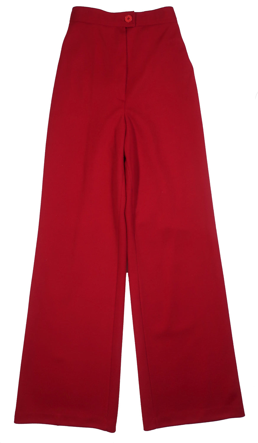 "Second Room Vintage Clothing. Meet your new, comfy as sweats, vintage pants! These cranberry high waist, wide leg pants are super soft, and really comfortable, with elastic at the back. No pockets, zipper and button closure, 13"" rise, and 10.5"" ankle opening. Free North American shipping on all orders."