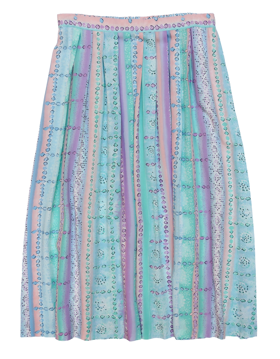 Second Room Vintage Clothing. Vintage 90s pastel pink, peach, green, blue and purple abstract pattern midi skirt. Waistband in the front, with elastic in the back, pleated with no pockets, and button closure on one side. Free North American shipping on all orders.