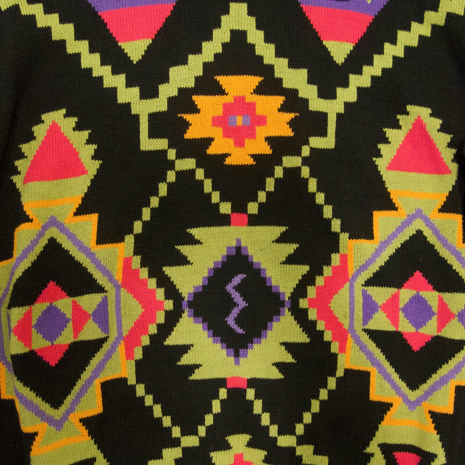 Second Room Vintage Clothing. Vintage black Esprit crew neck sweater with geometric pattern in bright purple, green, orange and pink. Ribbing at cuffs and waist, and the back of the sweater is plain black. Free North American shipping on all orders.