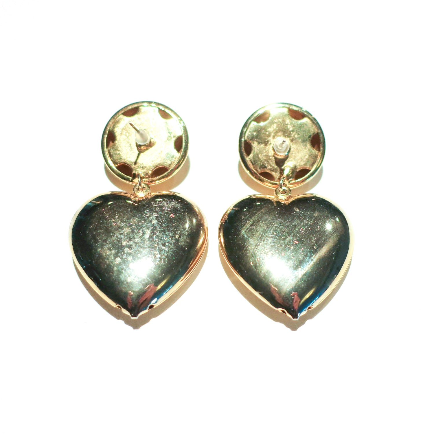 "Second Room Vintage Clothing. Vintage gold tone earrings with round stud top, and hollow hanging heart, 2.25"" long, 1.25"" wide. These are quite lightweight, as both the round piece and heart piece are hollow. Original earring backs have been replaced with new, clear silicone earring backs. Free North American shipping on all orders."