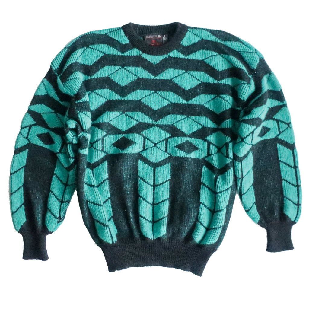 Second Room Vintage Clothing. Vintage crewneck sweater with abstract black and green pattern on front an back. Slight balloon sleeves, and ribbed cuffs and waist. Free North American shipping on all orders.