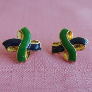 "Second Room Vintage Clothing. Vintage green, navy blue and gold tone earrings, in 'X' shape; 1"" across. Original earring backs have been replaced with new, clear silicone backings. Free North American shipping on all orders."