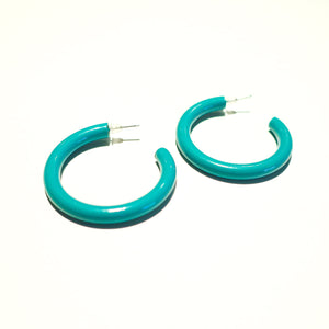 "Second Room Vintage Clothing. Vintage turquoise green metal painted enamel open hoop earrings, 1.75"" across. Original earring backs have been replaced with new silicone backs. Free North American shipping on all orders."