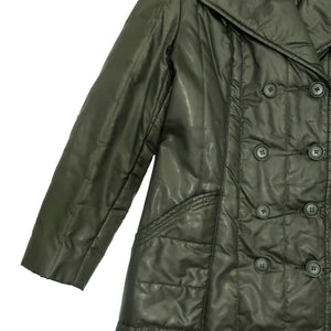 Second Room Vintage Clothing. This coat is amazing! It's a vintage very dark olive green quilted, double breasted puffer coat, which hits midi length, just below the knee. Free Shipping on all orders within North America.