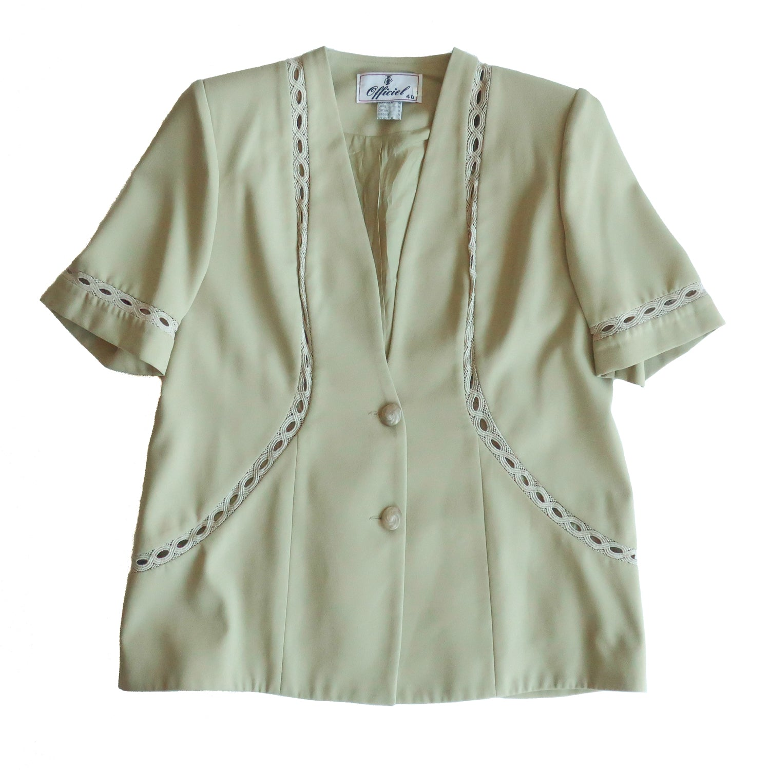 Second Room Vintage Clothing. Vintage light green short sleeve blazer, with lace style inserts/cut outs, two button closure, fully lined, with shoulder pads that could be easily removed. Free North American shipping on all orders.