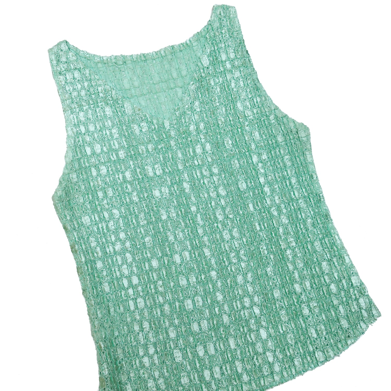Second Room Vintage Clothing. Vintage 90s mint green scrunchie top. Sleeveless, v-neck, and very stretchy. Free Shipping on all orders within North America.