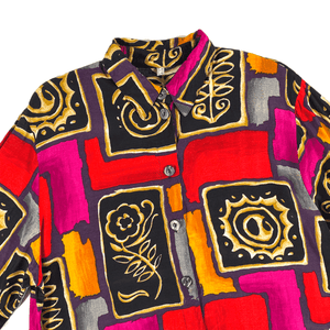 Second Room Vintage Clothing. Vintage 90s print long sleeve, made in Germany. Super awesome abstract and floral pattern in red, orange, purple and black, with oversize buttons down the front, and one button on each sleeve. Free Shipping on all orders within North America.
