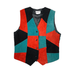 Second Room Vintage Clothing. Vintage suede leather patchwork vest, in black, red and turquoise blue/green. Fully lined in black, with black back and tie at back waist.  Free Shipping on all orders within North America.