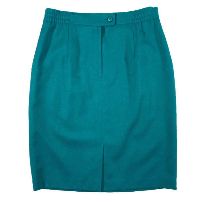 "Second Room Vintage Clothing. Vintage turqouise wool pencil skirt, fully lined with pockets. Back zipper and button closure, with elastic at the back sides and 5"" middle back slit, with extra button included. Free North American shipping on all orders."