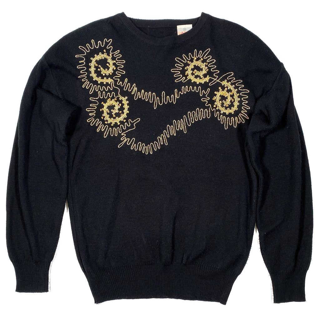 Second Room Vintage Clothing. Vintage black crew neck sweater with gold beads and embroidery and shoulder pads. Would be a great holiday sweater! Free North American shipping on all orders.