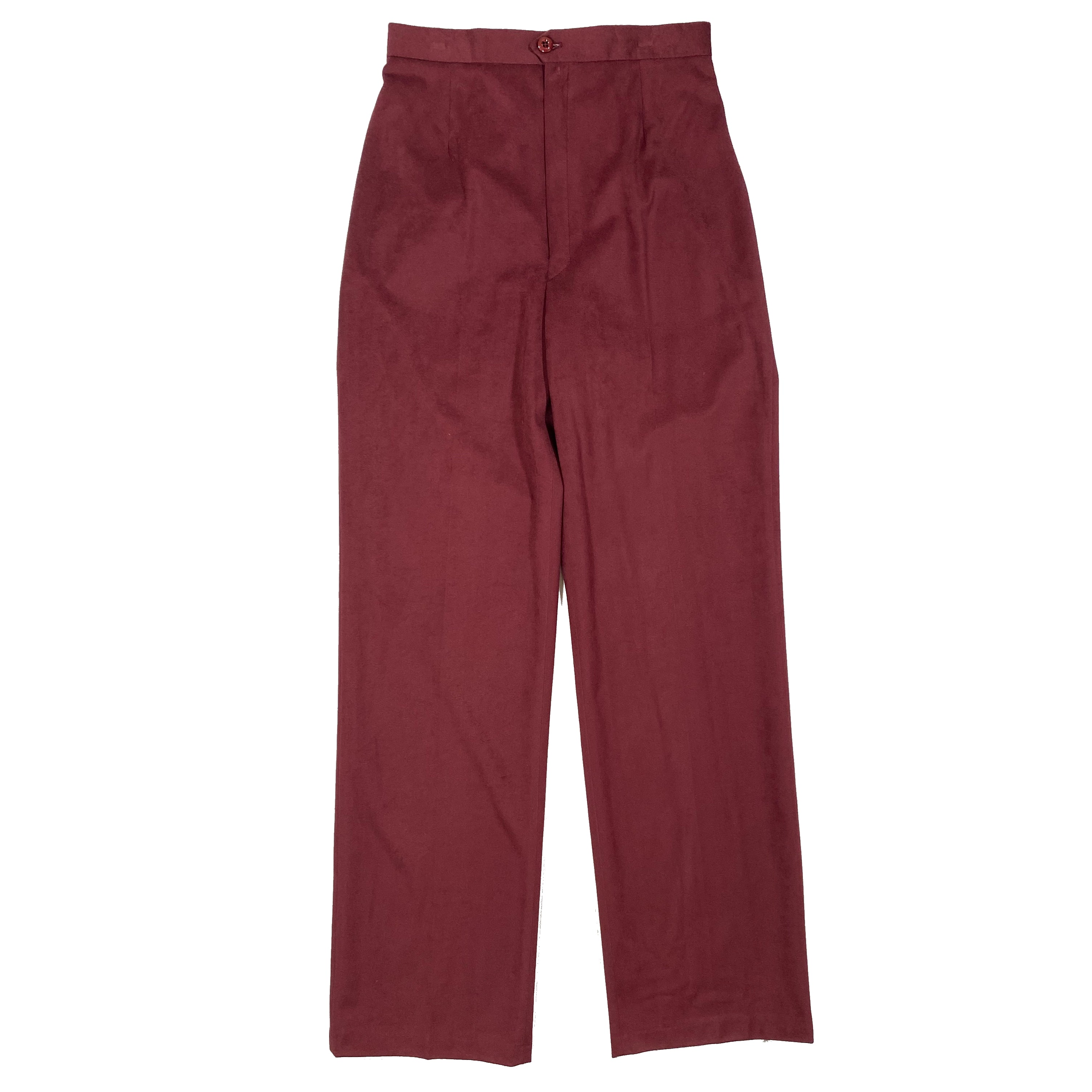 Second Room Vintage Clothing. Vintage 1970s deadstock, burgundy, high waist straight leg pants, with flat front and no pockets. These are in a soft, faux suede like material, with elastic at the back waistband, and original factory style tag still attached. Free North American shipping on all orders.