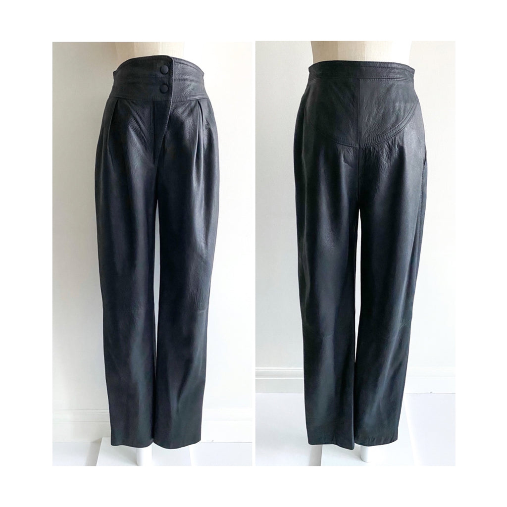 Second Room Vintage Clothing. Say hello to the world's softest leather pants! These vintage black leather pants are hand cut and tailored from buttery soft lambskin, with a lovely matte finish. These are high waisted, with waistband with zipper fly, and two snaps for closure. Free North American shipping on all orders.