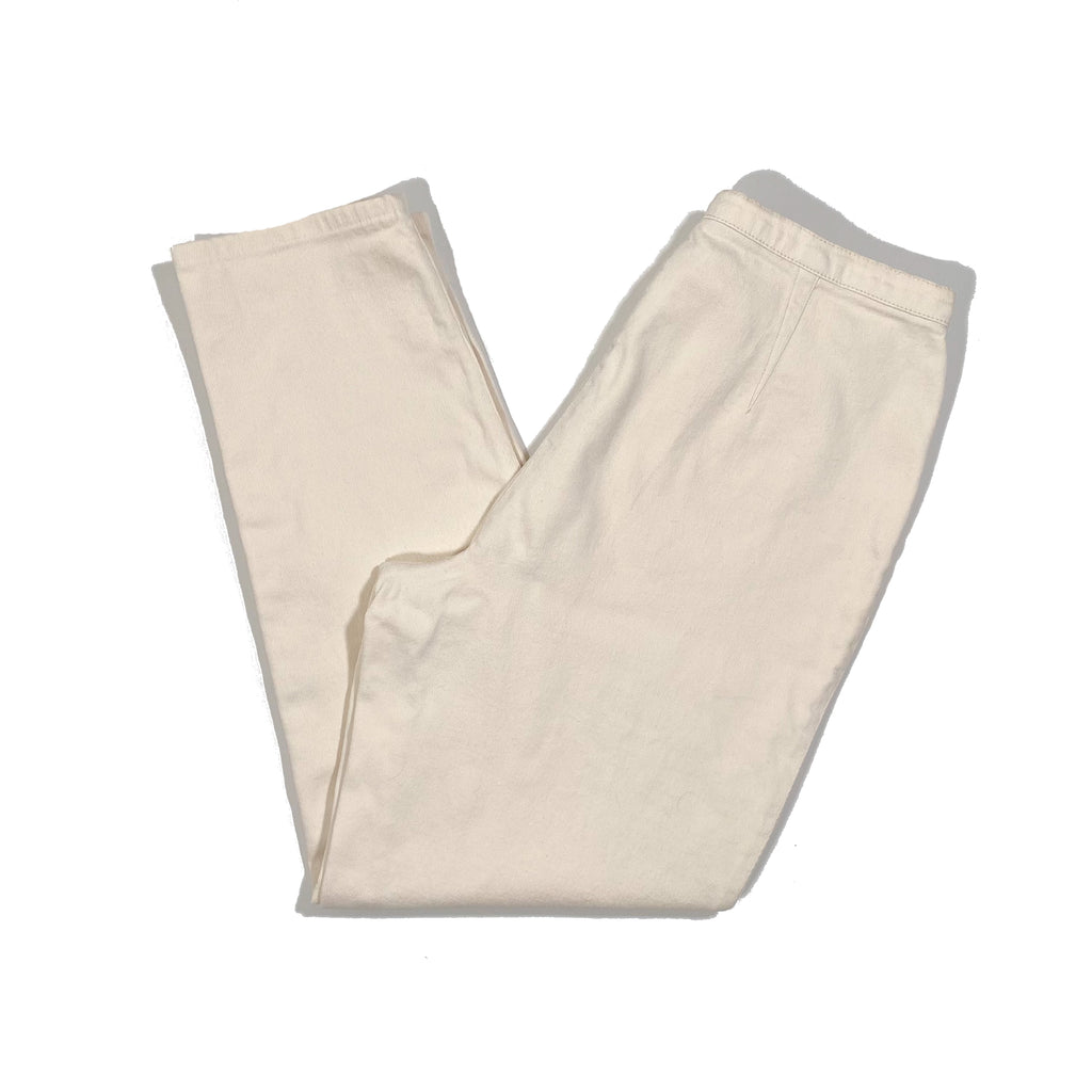Second Room Vintage Clothing. Vintage off white/cream high waist skinny jeans, with zipper fly and button, and without pockets. Union made in Canada. Free North American shipping on all orders.