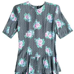 Second Room Vintage Clothing. Vintage short sleeve vintage floral Jane Singer short sleeve midi dress, with tiered ruffles on the skirt. Free North American shipping on all orders.