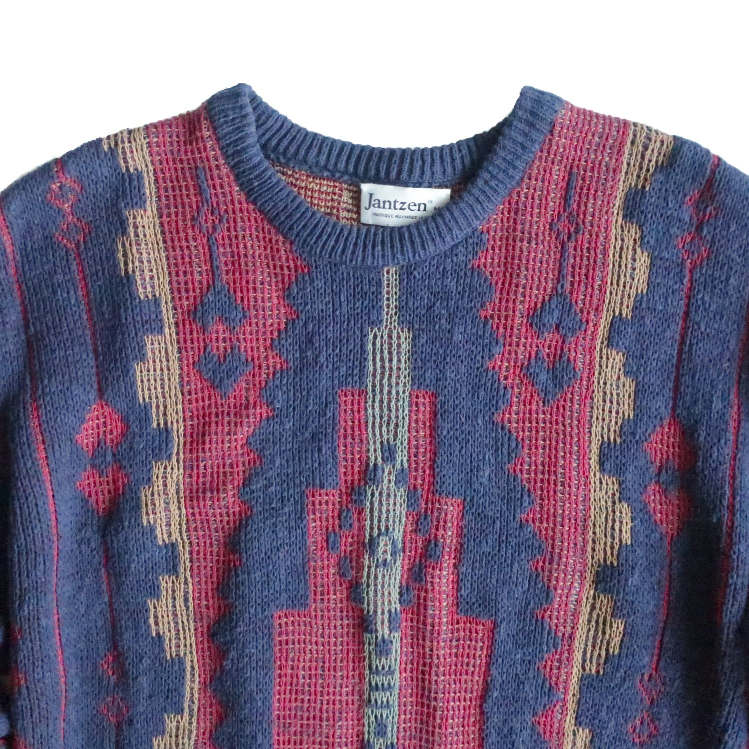 Second Room Vintage Clothing. Vintage navy blue and burgundy Jantzen crew neck sweater. Free North American shipping on all orders.