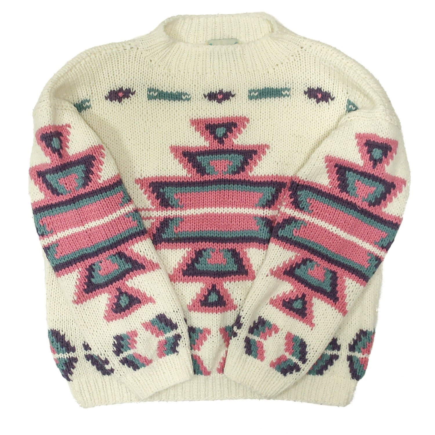 Second Room Vintage Clothing. Vintage white 90s Karuba sweater with southwestern style pattern in pink, purple and green, with a small mock turtleneck. Free North American shipping on all orders.