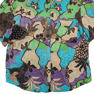 Second Room Vintage Clothing. Vintage short sleeve button up blouse with abstract paisley floral pattern in lime green, blue, purple, brown and black.  Free Shipping on all orders within North America.