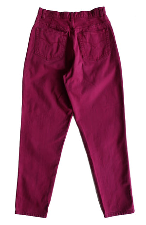 "Second Room Shop Vintage. Shop vintage, shop sustainable. Vintage 90s Lady Footlocker dark pink mom jeans. 5 pocket style, with zipper fly and button closure, tapered legs and belt loops. High waisted, with 13"" rise and 8"" zipper."