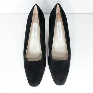 "Second Room Vintage Clothing. Vintage 90s deadstock Liz Claiborne black suede pumps, with slightly square toe, and 2.5"" heel. Free North American shipping on all orders."