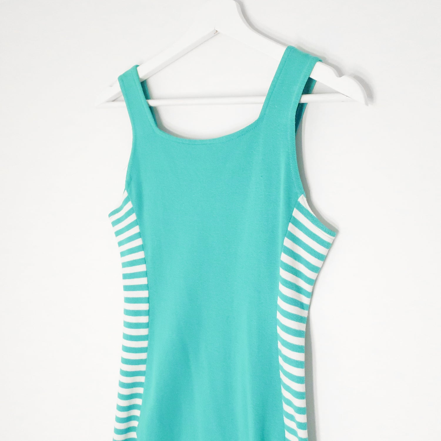 Second Room Vintage Clothing. Vintage bright turquoise blue 80s/90s Mariposa body con mini tank dress, with white and blue stripes up the sides, and a subtle sweetheart style neckline. Free North American shipping on all orders.