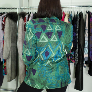 Second Room Vintage Clothing. Blue and green 90s abstract print blazer. Free North American shipping on all orders.