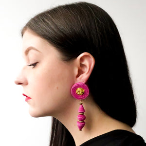 Second Room Vintage Clothing. These earrings are handmade out of suede leather, and have a gold tone rose in the centre of the stud portion. Free North American shipping on all orders.