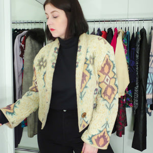 Second Room Vintage Clothing. Vintage cropped jacket, with southwestern print. Free Shipping on all orders within North America.
