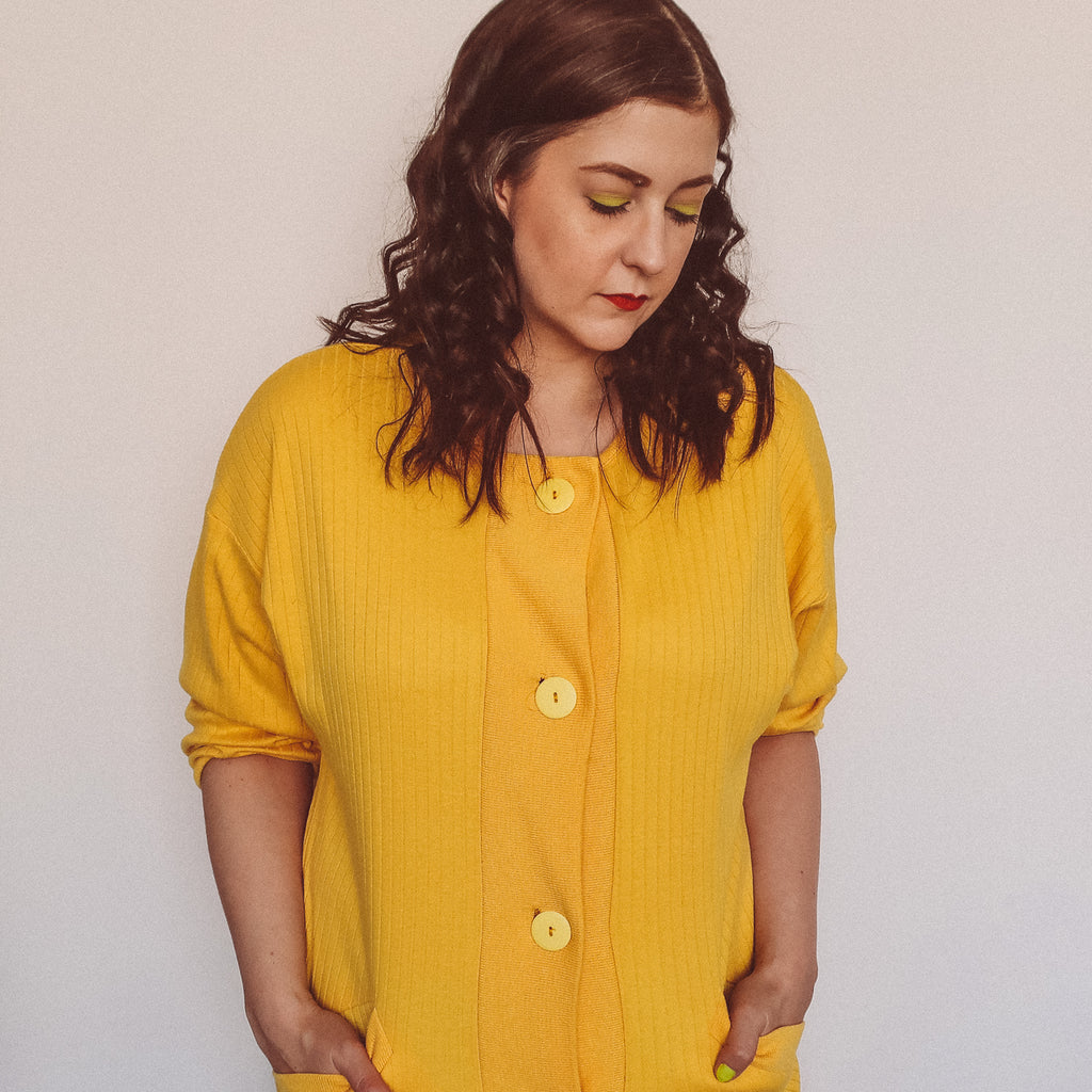 Second Room Vintage Clothing. Vintage 80s bright sunshine yellow ribbed sweater, which could be worn as a dress or as a cardigan. Free North American shipping on all orders.