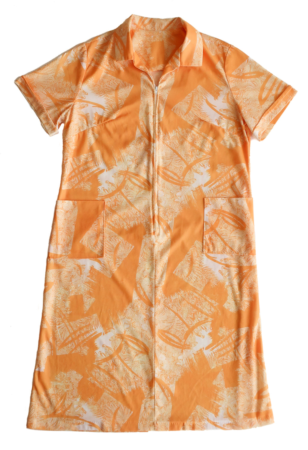 Second Room Shop Vintage. Shop Vintage, Shop Sustainable. Vintage 1970s semi sheer orange dress, with 3/4 zipper down front. Short sleeves, knee/midi length, with two front patch pockets. Dress is slightly sheer, unlined, and has a great abstract leafy pattern.
