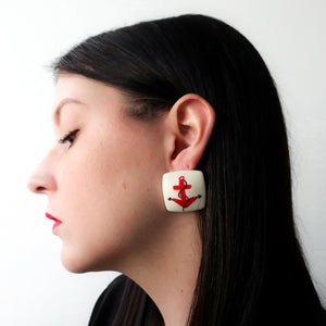 "Second Room Shop Vintage. Shop vintage, shop sustainable. Vintage acrylic white square earrings with painted red anchor design, 1.25"" square. Original earring backs have been replaced with new, clear silicone earring backs. Free North American shipping on this item."