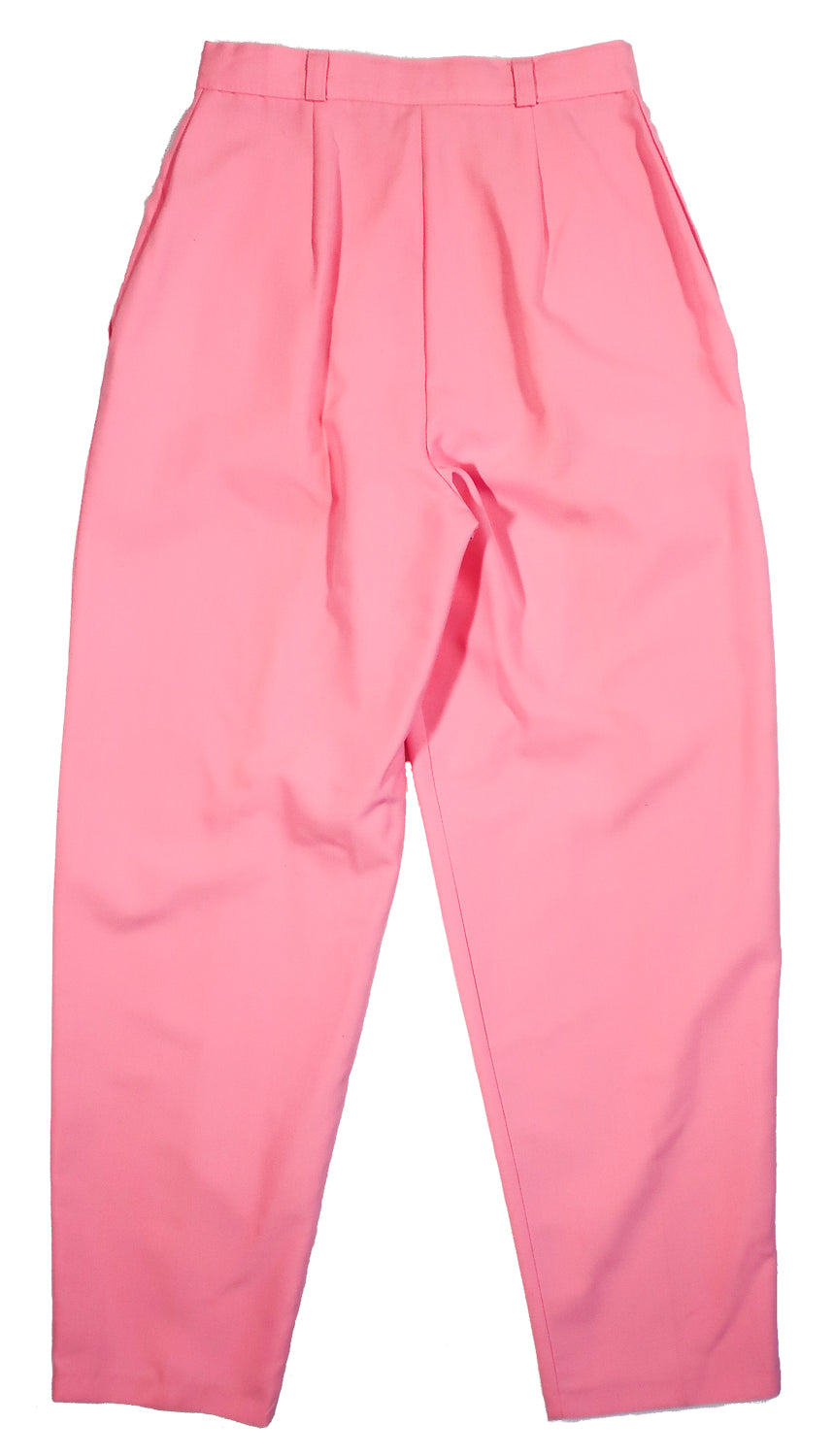 "Second Room Vintage Clothing. These are the most perfect vintage trouser, with a high cinched waist, and the perfect pleating at the front! They are bubblegum pink, high rise pleated pants, with zipper fly and button closure, with two side pockets, belt loops, 13"" rise and 7"" ankle opening. Comes with a matching pink fabric belt, with gold buckle. Free North American shipping on all orders."