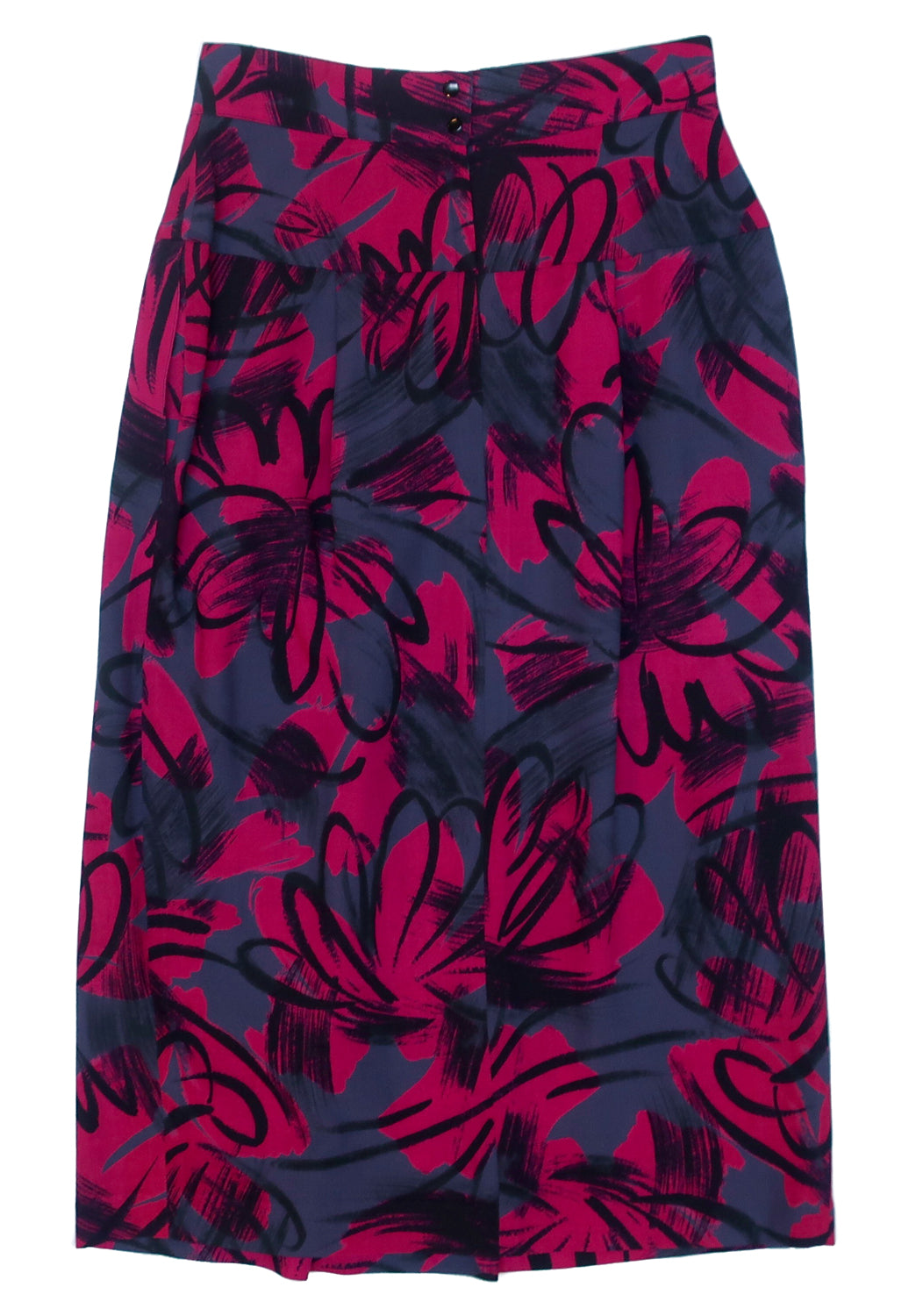 "Second Room Vintage Clothing. Vintage bright pink, grey and black abstract pattern wool midi skirt. Wide 6"" waist band, with pleats starting below that. This skirt is unlined with two side pockets, and a middle back zipper and two buttons at the waist. Free North American shipping on all orders."
