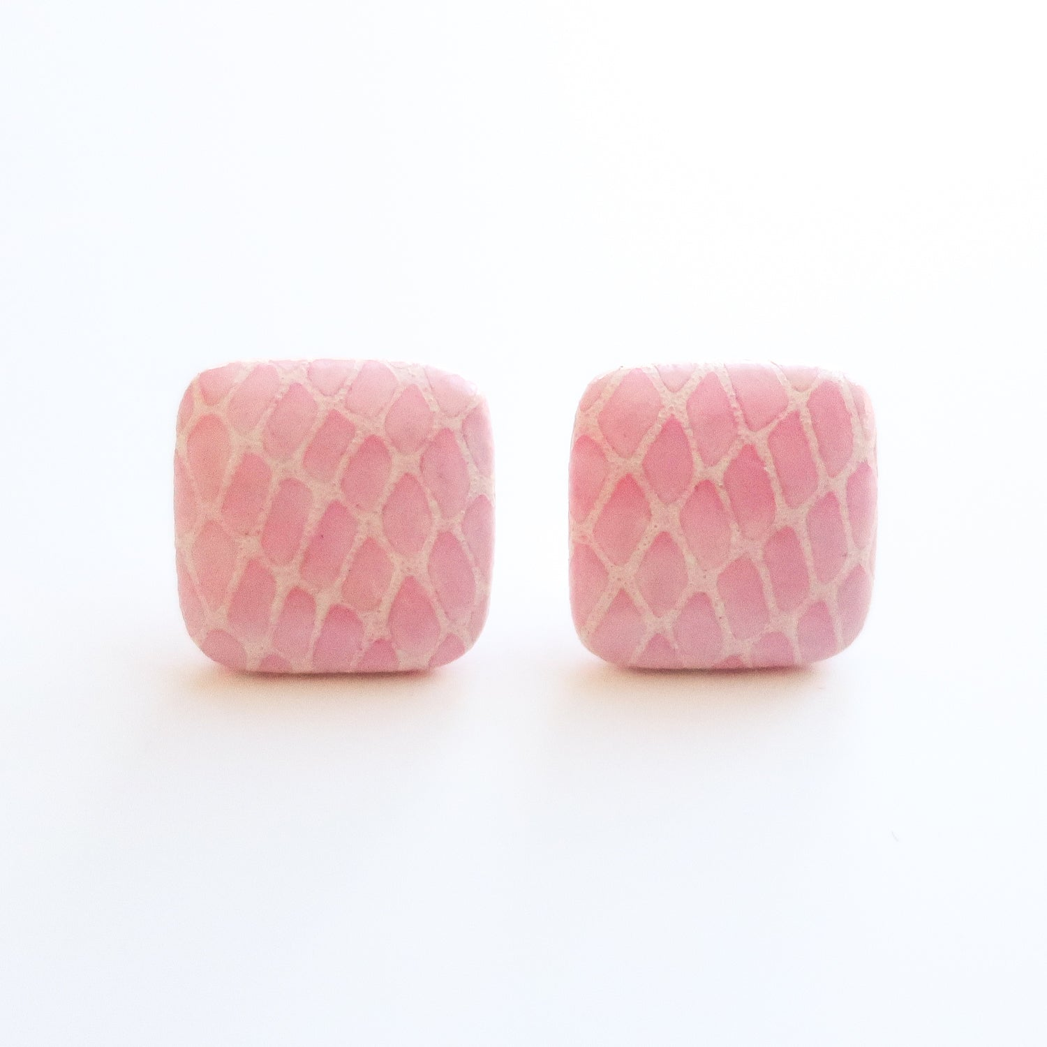 "Second Room Vintage Clothing. Vintage pink and white snakeskin print square stud earrings. These earrings are 3/4"" square. Original earring backs have been replaced with new, clear silicone backings.  Free North American shipping on all orders."