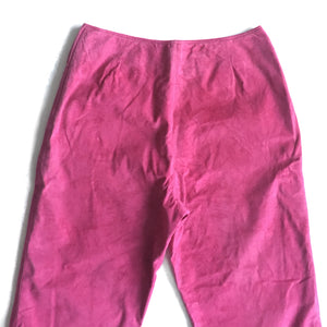 "Second Room Shop Vintage. Shop vintage, shop sustainable. Vintage bright pink suede, high waist, slightly tapered straight leg cropped pant. Side zipper, fully lined, 9"" leg opening, made in Canada."