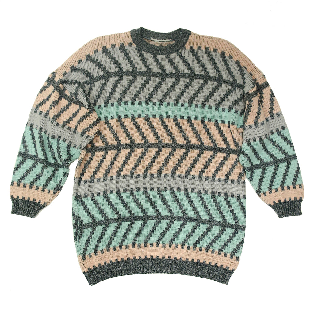 Second Room Vintage Clothing. Vintage crew neck sweater with grey, pink and turquoise striped herringbone style pattern, with ribbed cuffs and waist. Free North American shipping on all orders.