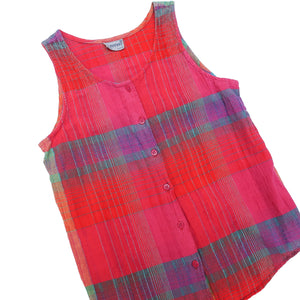 Second Room Vintage Clothing. Vintage pink, red, green, blue and purple plaid button front tank top, with round neck. There is no size tag, but would fit an XS/S. It is in great shape, and is very soft from many washes. Free Shipping on all orders within North America.