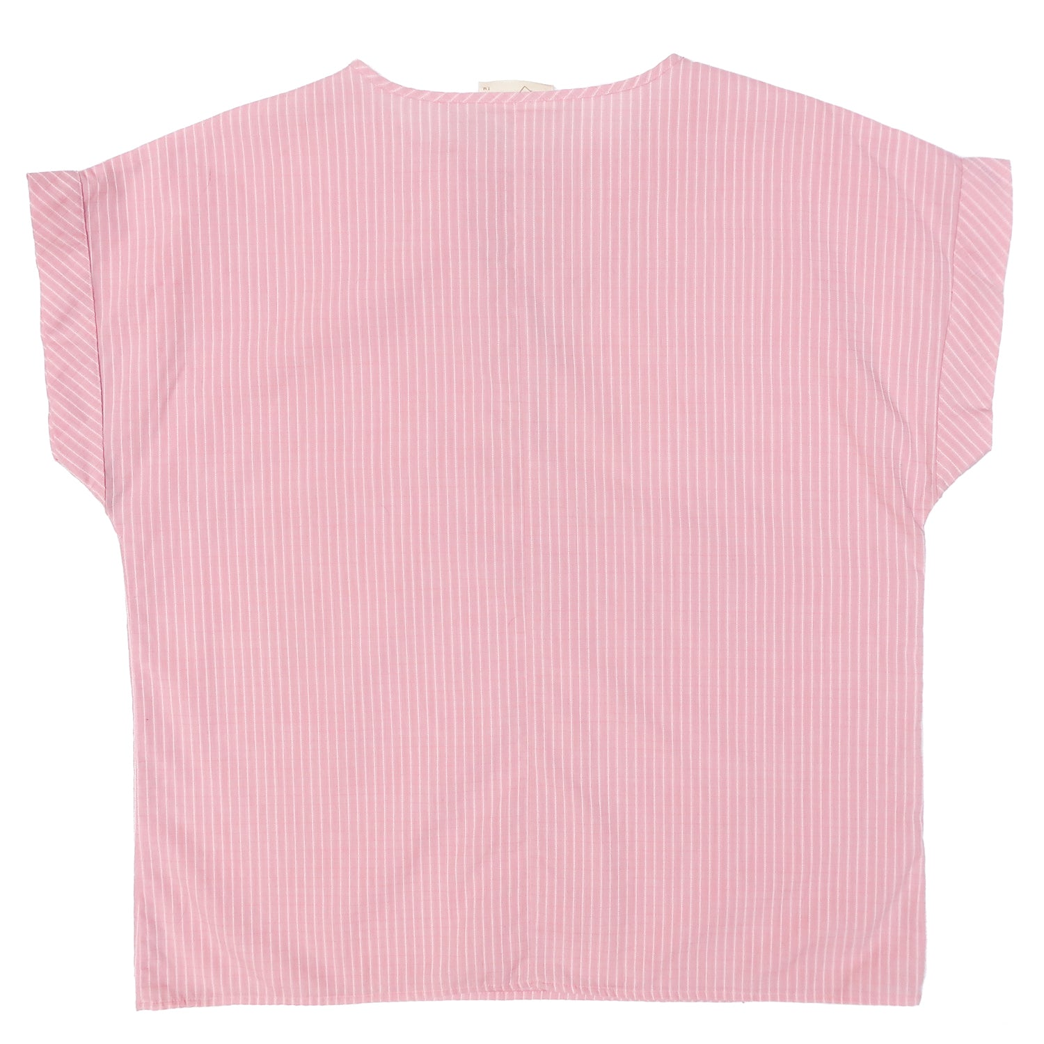 Second Room Vintage Clothing. Vintage pink and white striped grid pattern top, with short cap sleeve, crew neck with slit, and a boxy fit. Free Shipping on all orders within North America.