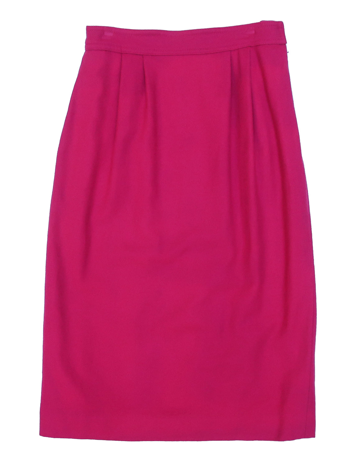 "Second Room Vintage Clothing. Vintage bright pink high waisted wool skirt, above the knee, fully lined, with pleats in front, pockets, size zipper and hook closure, with a 10"" slit in the middle back. Free North American shipping on all orders."