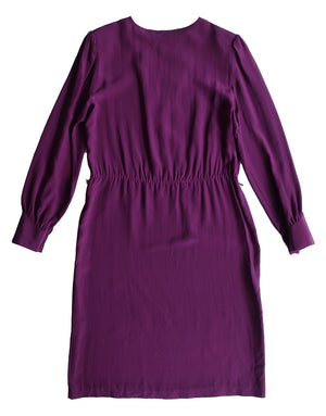 Second Room Vintage Clothing. Vintage 80s purple silk knee length dress, long sleeves with one button at each sleeve. Free North American shipping on all orders.