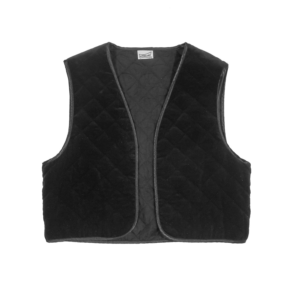 Second Room Vintage Clothing. Vintage black reversible quilted cropped vest; one side is cotton velvet, one side is a more plain and shiny fabric. Has satin piping on all edges. Free Shipping on all orders within North America.