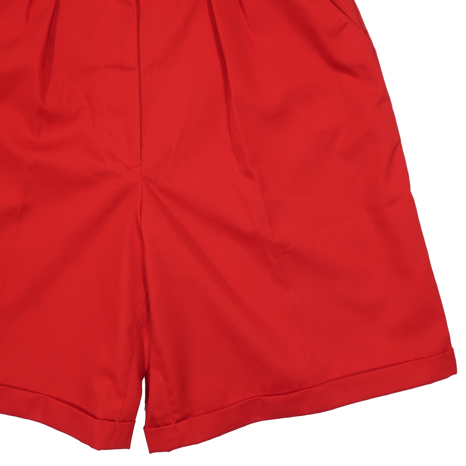 "Second Room Vintage Clothing. Vintage high waisted, pleated, red, pleated mom shorts. Zipper fly and button closure, front pockets, one back pocket. Unlined with 12"" rise, and cuffed bottom. Free North American shipping on all orders."