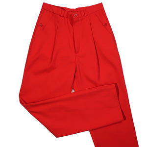 "Second Room Vintage Clothing. Check out these amazing vintage 1970s bright red, high waist pleated trousers, with the cutest button detail on the pockets! These have pleats in the front, a 12"" rise with zipper and button closure, tapered straight leg with 8"" ankle opening, and belt loops. Free North American shipping on all orders."