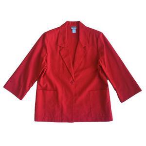 Second Room Shop Vintage. Shop vintage, shop sustainable. Vintage red petite blazer with one front button and two patch pockets. Also has shoulder pads which could be easily removed, if so desired.