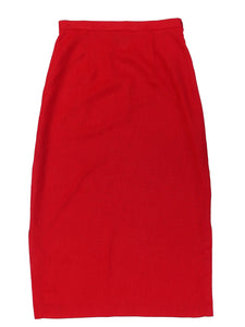 Second Room Vintage Clothing. Vintage red maxi skirt, with two side slits, side zipper and button closure. This skirt is lightweight and unlined, and has some elastic at the back of the waistband for comfort. Free North American shipping on all orders.