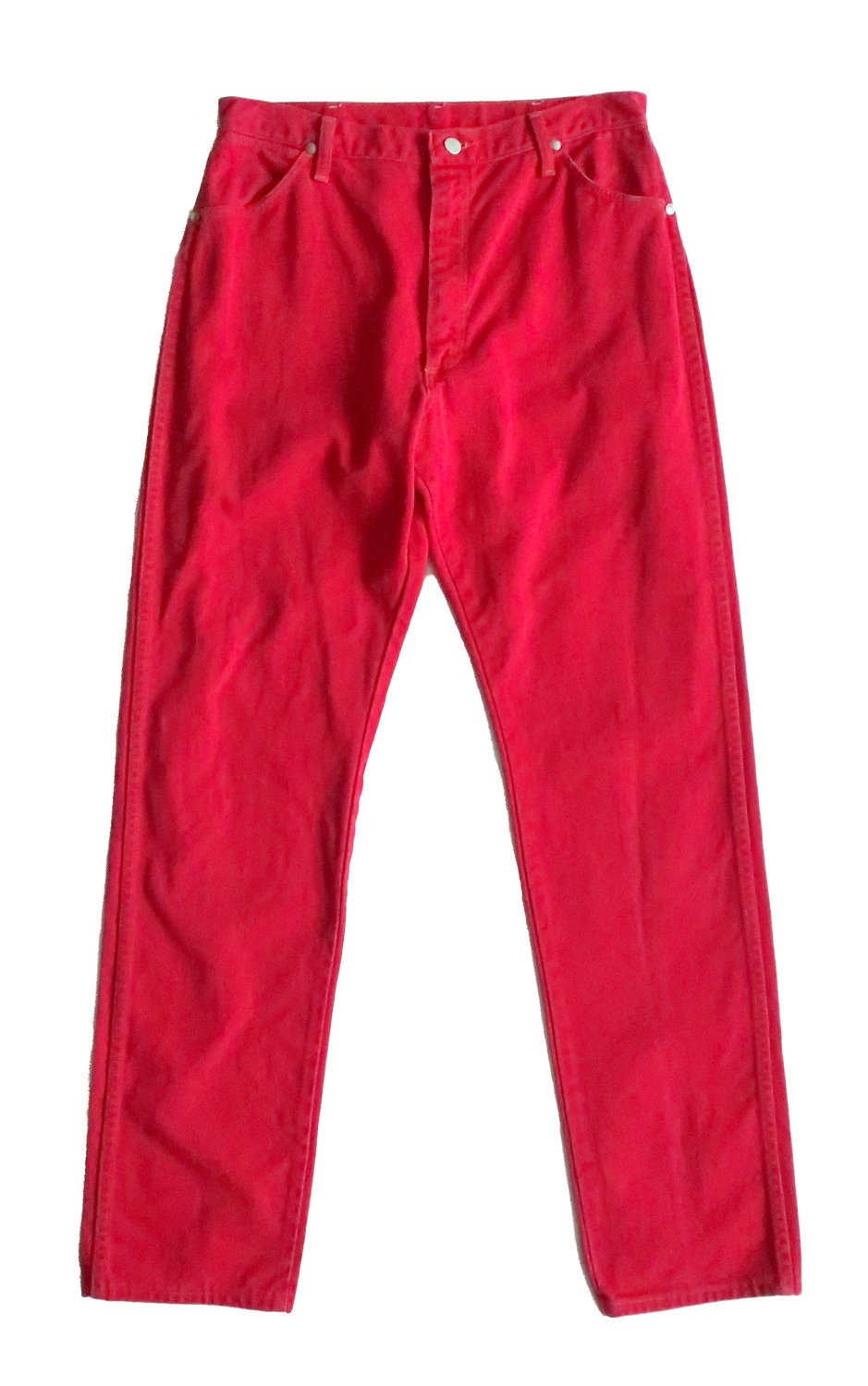 "Second Room Vintage Clothing. Vintage high waist red Wrangler mom jeans, with 13"" rise. Five pocket style with belt loops, silver hardware, zipper fly and button closure, with leather Wrangler patch on back pocket. Made in the USA. Free North American shipping on all orders."
