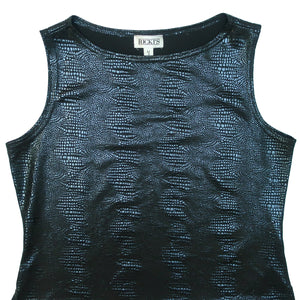 Second Room Vintage Clothing. Vintage 90s stretchy, shiny black sleeveless shirt with embossed/burn out snakeskin/crocodile print. Free Shipping on all orders within North America.
