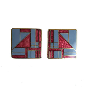 "Second Room Shop Vintage. Shop vintage, shop sustainable. Vintage square gold tone earrings, with burgundy and grey geometric pattern. These are 7/8"" square, and the earring post is at the corner, meaning these hang as a diamond shape. Original earring backs have been replaced with new, clear silicone backings."